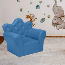 Kids Sofa Armrest Chair Lounge Couch W/ Ottoman Function Children Toddler Blue