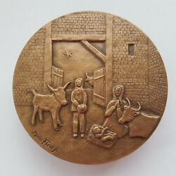 France Maurice Fleuzy Bronze Medal 1981 - He Came To His House... 77 Mm 231 Gr