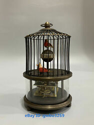 C67 Collect China Old Tibetan Brass Hand Carved Birdcage Mechanical Clock