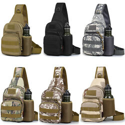 Men#x27;s Tactical Sling Bag Military Chest Shoulder Molle Small Daypack Backpack $14.99