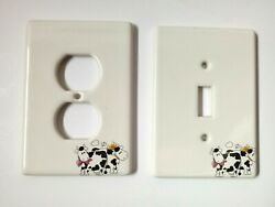 Vintage Ceramic Light Switch Plate Wall Socket Covers Country Cow Decor