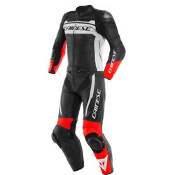 Motorcycle Leather Suit Dainese Mistel 2pcs Black/white/red - Size 50