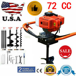 72cc Post Hole Diggers 4hp Gas Power Heavy Equipment W/4+8+12 Auger Bits
