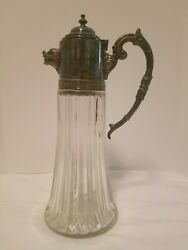 Vintage Cut Glass Crystal Decanter W/ Silverplate Boarand039s Head Pouring Spout