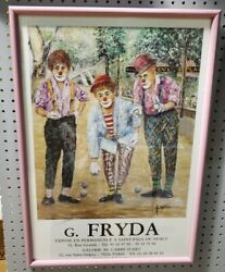 Signed G. Fryda Print Poster Of Three Clowns Lawn Bowling Framed