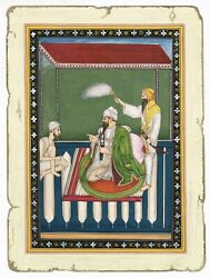 A Portrait Of Sikh Noble Hand Painted Sikh Miniature Art And Painting On Paper