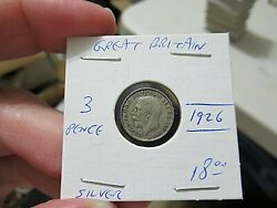1926 Great Britain Nice Silver Coin, 3 Penny, King George, More Auctions Today