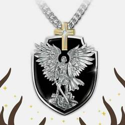 ST MICHAEL CHRISTOPHER PROTECT CROSS pendant Sterling Silver 925 necklace 24quot; $26.97