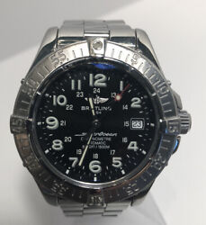 Breitling Superocean A17360 Watch Black Dial With Stainless Steel Bracelet