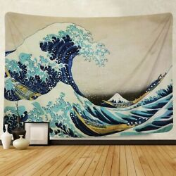 Sea Wave Pattern Tapestry Art Wall Hanging Home Decor USA Bedspread Tapestries