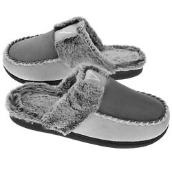 Vonmay Womens Slippers Microsuede Warm Memory Foam Faux Fur Moc Toe House Shoes