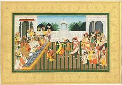 Musicians And Dancing Girls Perform For King Sher Singh Sikh Miniature Painting