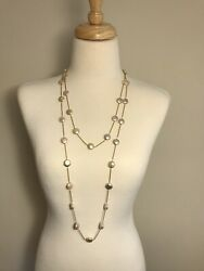 Button Pearl Yellow Gold Station Long Necklace