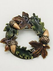 Kc Kenneth Cole Maple Leaf And Acorn Fall Wreath Autumn Pin Brooch Very Rare