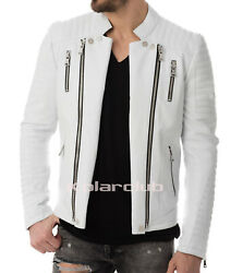 Menand039s Real Leather Rider Motor Bike Motorcycle Jacket Cocktails Whit 61