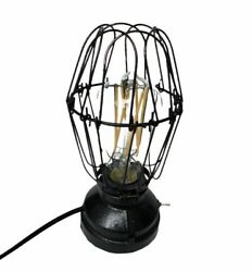Industrial Steam Punk Hammered Black Iron Table Lamp Blacksmith Style