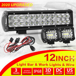 Cree Led Light Bar 4/12inch Spot Flood Combo Beam With Off Road Wiring Harness