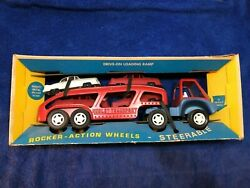 1969 Hubley Steerable Transport Auto Car Carrier / All Original With Box