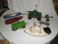Vintage Folk Art Toy's Lot Metal Wood Motorized Tethered Armored Cars Boats Ooak
