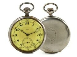 Stainless Steel Slam Pocket Watch With Detailed Case For Antique Collection