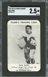 1949 Baltimore Colts Football Schedule Silber's Bakery Paul Page Sgc Graded