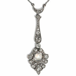 Antique Collier Um 1910 Diamonds And Natural Pearl In Gold Silver,edwardian Chain
