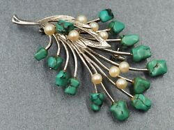Turquoise And Cultured Pearl Womens Statement Brooch Sterling Silver Jewellery
