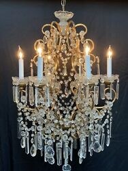 Antique French Italian Crystal Gilt Iron Crystal Beaded Chandelier Lustre