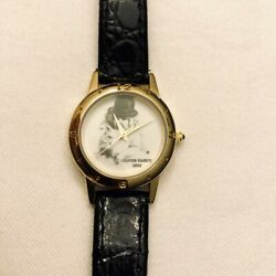 Vintage Novelty Watch Oliver Hardy 1892 Black Leather. Laurel And Hardy Wristwatch