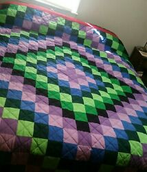 New Amish King Bed Quilt 115 Andtimes 116 Trip Around The World Double Feather Border