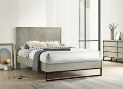 King Size Bed Dresser Mirror Nightstand Gray Stone Wood Finish Bedroom Furniture