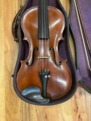 Very Old Violin With Bow And Case Playing Condition.
