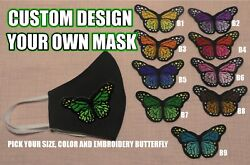Face Mask HANDMADE USA Double Lined Cotton CHOOSE COLOR OF BUTTERFLY $1.75