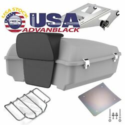 Advanblack Unpainted Chopped Tour Pack Trunk Luggage For Harley Davidson 97-20