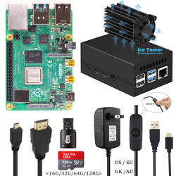 Raspberry Pi 4 B Start Kit With Aluminum Case Ice Tower System 5v 3a Power Hdmi