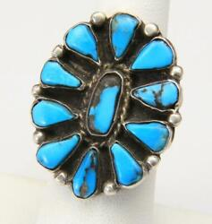 Vintage Large Sterling Silver And Turquoise Petit Point Ring Southwestern Size 8.5