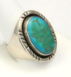 Vintage Men's Large Sterling Silver And Turquoise Ring Southwestern Size 11 Signed