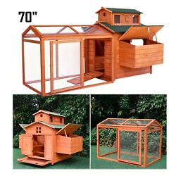 70#x27;#x27; Large Wood Poultry Cage Chicken Coop Hen Animal House Hutch Run Nesting Box