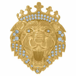 10kt Yellow Gold Mens Cubic Zirconia Cz Polished Finish Roaring Lion Face Crown