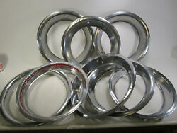 Lot Of 8 Chrome Auto Beauty Rings Wheel Tires Car Vintage Metal