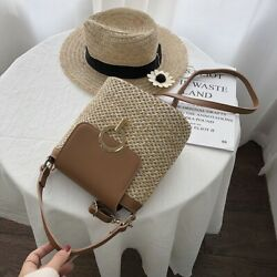 Small Straw Bucket Bags For Women Crossbody Shoulder Simple Lady Travel Purse $29.90