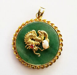 20c Chinese Gold-plated Pendant W. Dragon And Character Motif On Jade Disk Fsf4