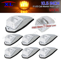 7 X 10.5 Clear Amber 17 Led Truck Cab Roof Top Maker Lights Rv Kenworth Running