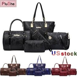 5Pcs Set Women Leather Handbag Designer Lady Shoulder Bag Purse Tote Bags Wallet $30.45