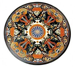 36 Inches Marble Coffee Table Top Round Stone Lawn Table Inlay Art Home Assent