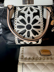 Guess Satchel Purse With Matching Wallet Black White Pink $17.00