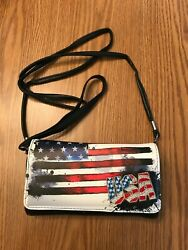 USA amp; AMERICAN FLAG CROSSBODY WALLET RED WHITE BLUE amp; BLACK $25.00