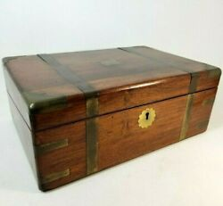 Antique Ca 1885 Mahogany Campaign Lap Desk Slope Box Hidden Drawers Brass Inlays