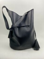 FREE PEOPLE Womens Hobo Bucket Handbag Vegan Pebbled Leather Pouch amp; Tassels XL $74.99