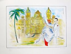 Piroska Kevesi Monte Carlo Hand Signed Lithograph Art From 1987 Casino Series